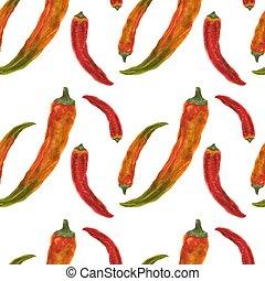 modello, seamless, arancia, pepe rossi, peperoncino