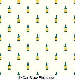 modello, seamless, birra, vettore, verde, bottiglia