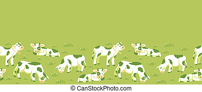 modello, seamless, campo, fondo, mucche, orizzontale, bordo