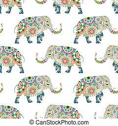 modello, seamless, colorito, elefanti