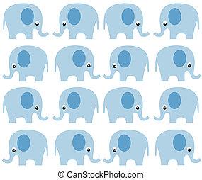 modello, seamless, elefante