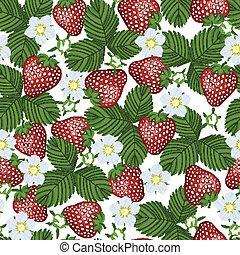 modello, seamless, fioritura, strawberry.