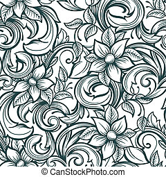 modello, seamless, floreale, mano, disegnare