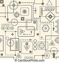 modello, seamless, fondo., retro, meccanico, 2.3