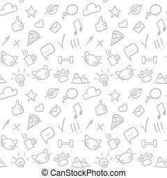 modello, seamless, icons., mano, vettore, sociale, disegnato, scarabocchiare