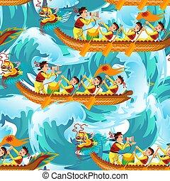modello, seamless, illustrazione, draghi, vettore, barche