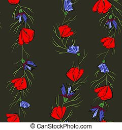modello, seamless, illustrazione, fondo., cornflowers., papaveri, nero rosso