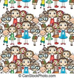 modello, seamless, illustrazione, mano, disegnato, bambini