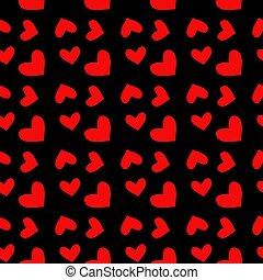 modello, seamless, illustrazione, valentina, day., fondo., s, vettore, nero, cuori, rosso