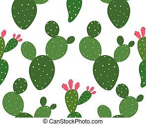 modello, -, seamless, illustrazione, vettore, fondo, cactus