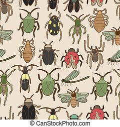 modello, seamless, insetto