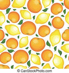 modello, seamless, limoni, oranges.