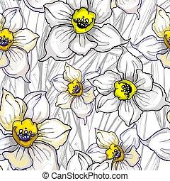 modello, seamless, mano, disegnato, floreale, monocromatico, fiori