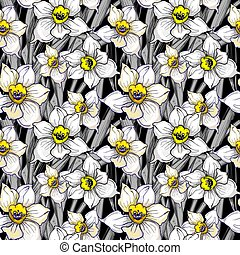 modello, seamless, mano, monocromatico, disegnato, fiori, botanico