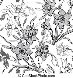 modello, seamless, mano, tromboni, monocromatico, disegnato, fiori, botanico