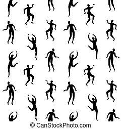modello, seamless, persone, ballo, silhouette