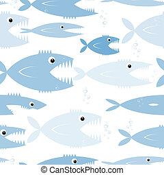 modello, seamless, pesci, disegno, tuo, predatore