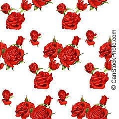 modello, seamless, rose rosse