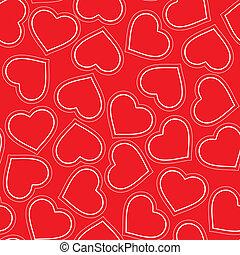 modello, seamless, rosso, cuori