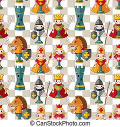 modello, seamless, scacchi, cartone animato