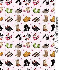 modello, seamless, set, scarpe, cartone animato