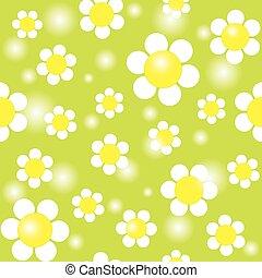 modello, seamless, sfondo verde, bianco, chamomiles