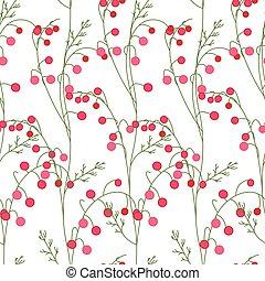 modello, seamless, stilizzato, floreale, bacche, rosso