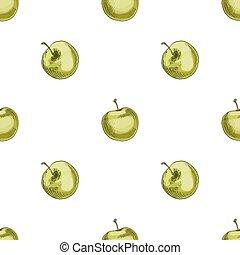 modello, seamless, struttura, fruity, fondo., vettore, mele verdi, trendy, bianco, tuo, design.
