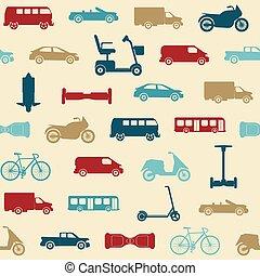 modello, seamless, trasporto, icone