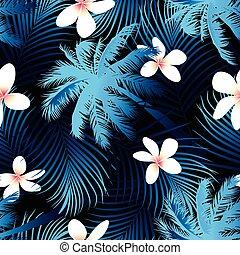 modello, seamless, tropicale, palma, fondo, nero