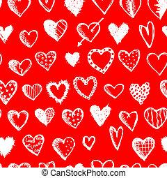 modello, seamless, valentina, disegno, cuori, tuo