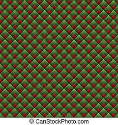 modello, seamless, verde, geometrico, natale, rosso