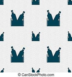 modello, segno., seamless, birra, vettore, bottiglia, geometrico, texture., icona