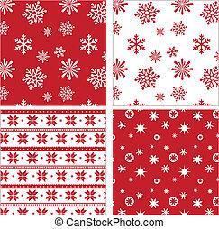 modello, set, seamless, rosso, fiocco di neve