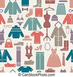 modello, set, seamless, vestiti