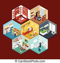 modello, shopping, esagonale, isometrico, centro commerciale...