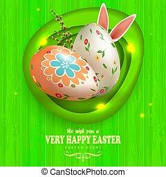 modello, silhouette, pasqua, verde, cornice, orecchie, composizione, uova, ramo, asse, coniglio, ovale, astratto, salice