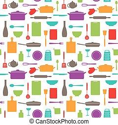 modello, silhouette, seamless, cucina