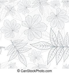 modello, silhouette, seamless, mette foglie