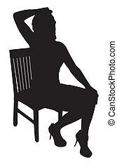 modello, silhouette, seduta