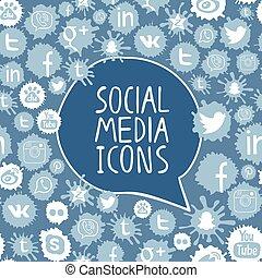 modello, sociale, media, icone