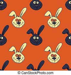 modello, sorridente, seamless, coniglio, faccia