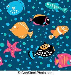 modello, stile, fish, bambini, seamless