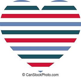 modello, strisce orizzontali, vettore, cuore