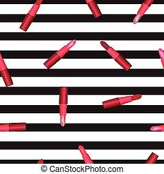 modello, strisce, rossetto, fondo, seamless