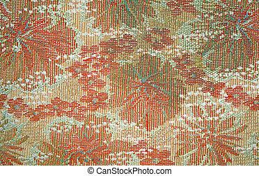 modello, struttura, sbiadito, tessuto, vecchio, tappezzeria, floreale, rosso