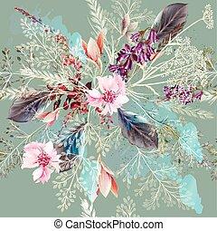 modello, style., fiori, realistico, tessuto, floreale, pasel, colori, primavera