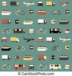 modello, trasporto, seamless, icons.