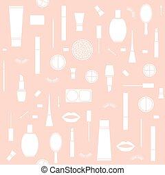 modello, trucco, prodotti, seamless, fondo
