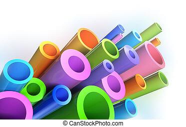 modello, tubi, colorito, fondo